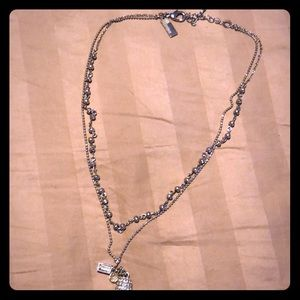 The Limited silver tone double necklace